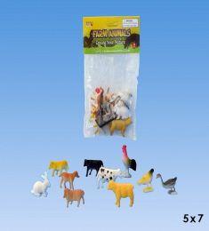 72 Bulk 10pcs mini Farm animals in PVC bag