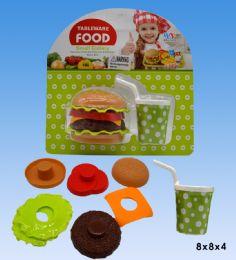 48 Units of Hamburger set in blister card - Girls Toys