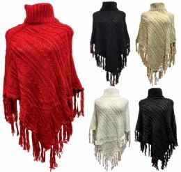 12 Units of Wholesale Knitted Poncho Solid Color with Fringe - Winter Pashminas and Ponchos