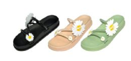36 of Ladies Assorted Color Sandals With Flower