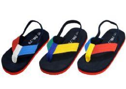 48 Units of Kids Flip Flops With Ankle Strap Assorted Colors - Girls Flip Flops