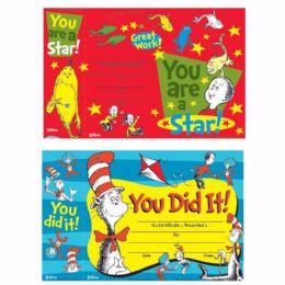 144 Units of Dr. Seuss Reward Certificate With Bonus Bookmark - Books