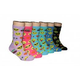 480 Units of Emoji Girls Crew Socks - Girls Crew Socks