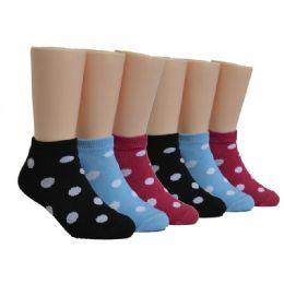 480 Bulk Girls Polka dots Low Cut Socks