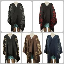 12 Units of Wholesale Wrap Poncho Solid Color with Flower Pattern Fringes - Winter Pashminas and Ponchos