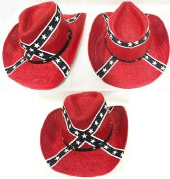 12 Wholesale Straw Cowboy Hat with Rebel Flag