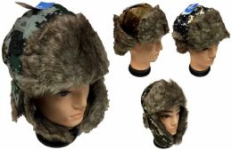 36 of Wholesale Faux Fur Lined Aviator Hat with Digital Camo