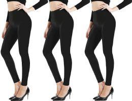 3 of Yacht & Smith Womens Stretch One Size Black Heavy Fleece Winter Warm Leggings