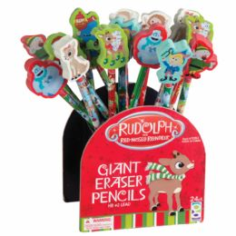 72 Bulk Rudolph The Red-Nosed Reindeer Pencils + Giant Erasers