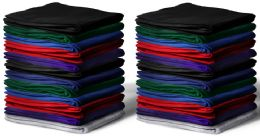 24 Bulk Gildan 50x60 Irregular Warm Cotton Fleece Blanket, Soft Warm Compact Travel Blanket Assorted Colors