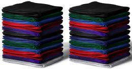 48 Bulk Gildan 50x60 Irregular Warm Cotton Fleece Blanket, Soft Warm Compact Travel Blanket Assorted Colors