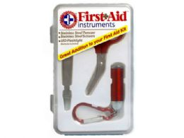 36 Bulk 3 Pc First Aid Instrument Kit with Tweezers, Scissors and LED Flashlight in Case