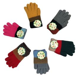 36 Units of Three Color Wide Striped Gloves - Kids Winter Gloves