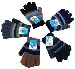 72 Units of Kids Striped Gloves - Kids Winter Gloves