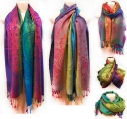 12 Units of Multicolor Paisley Pattern Pashmina with Fringes - Winter Pashminas and Ponchos