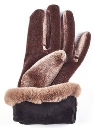 36 Bulk Gold Velvet Women's Gloves