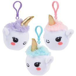 12 Bulk 3 Inch Squish Plush Unicorn Clips