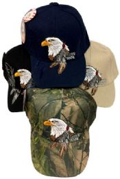 24 Wholesale Native Pride Eagle w/ Feather Baseball Hats