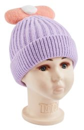 48 Units of Big Bow Knitted Hat - Junior / Kids Winter Hats