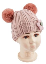 48 Units of Flower Knitted Hat - Junior / Kids Winter Hats
