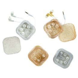 24 Bulk Glitter Earbuds With Case