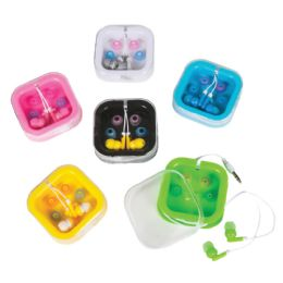 24 Bulk Colored Earbuds with Case