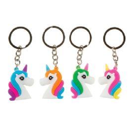 48 Wholesale Unicorn Head 3D Keychain