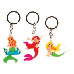 48 Wholesale Laser Cut Mermaid Keychain