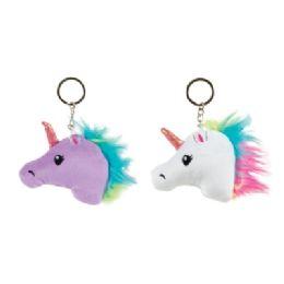 48 Wholesale Puffy Unicorn Head Keychain