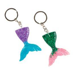 48 Wholesale Acrylic Mermaid Tail Keychain