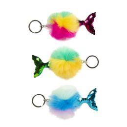 24 Wholesale Rainbow Mermaid Tail Pufferball Keychain