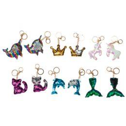 48 Wholesale Sequins Key Chains