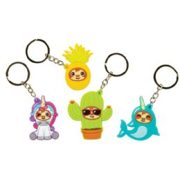 48 Wholesale Sloth in Disguise Key Chains