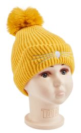 48 Units of Cat Whiskers Knitted Beanie - Junior / Kids Winter Hats