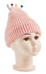 48 Units of Knitted Crown Hat - Junior / Kids Winter Hats