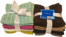 48 of 8 pk 12X12 Solid Washcloth with Bow