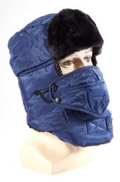 72 Units of Solid Hat with Fur and Mask Attachment - Winter Sets Scarves , Hats & Gloves