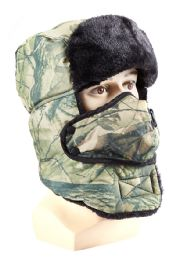 72 Units of Camo Hat with Fur and Mask Attachment - Winter Sets Scarves , Hats & Gloves