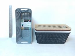 48 Units of PL. BASKET RECTANGULAR NARROW 5 ASST CL 24PC/CS - Cleaning Supplies