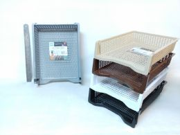 24 Units of PL. STACKABLE LETTER TRAY RECTANGULAR 5 ASST CL 24PC/CS - Cleaning Supplies