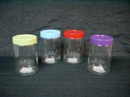 24 Bulk GLASS RD CYLINDER JAR W/ SOLID LID 1300ML 24PC/C