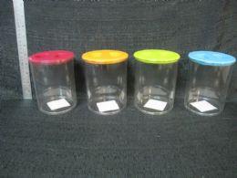 24 Units of PLASTIC CLEAR ROUND STORAGE JAR W/ LID 24 SETS/CS - Storage & Organization