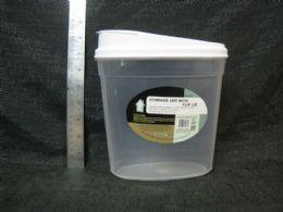 24 Units of PLASTIC CONTAINER OVAL JAR W/ FLIP LID 24ST/CS - Storage & Organization
