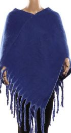 24 Units of Womens Winter Warm Cape Textured With Fringes - Winter Pashminas and Ponchos