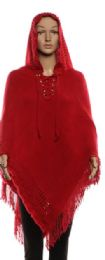 24 Units of Women's Solid Hooded Poncho with Fringes - Winter Pashminas and Ponchos