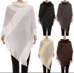 18 Units of Women's Cape With With Fur Trimmings In Assorted Color - Winter Pashminas and Ponchos