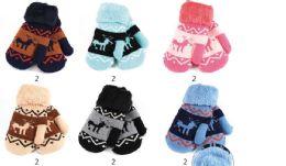 48 Units of Kids Deer Printed Mittens - Kids Winter Gloves
