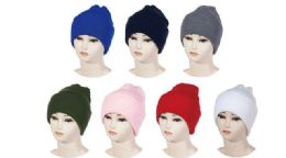 48 Units of Assorted Colors Knitted Beanie - Winter Sets Scarves , Hats & Gloves