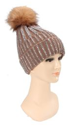 36 Units of Ladies Double Layer Bedazzled Hat - Winter Beanie Hats