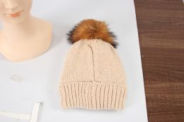 36 Units of Ladies Double Knitted Hat With Fur and Pom Pom - Winter Beanie Hats